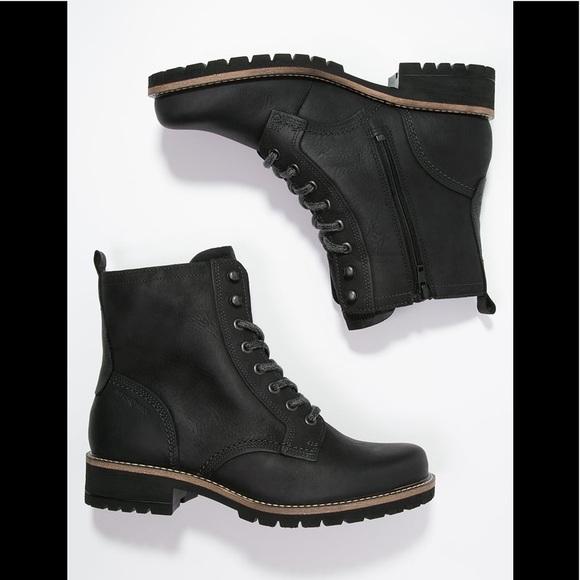 a021c8c356 ECCO Elaine black leather lace up moto boots